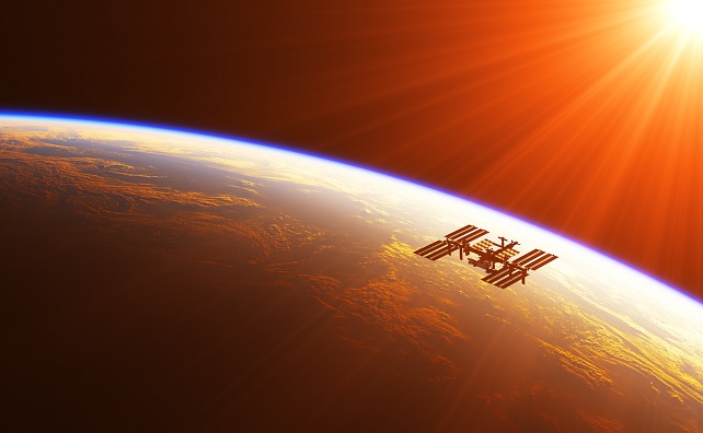 International Space Station In The Rays Of Rising Sun. 3D Illustration.